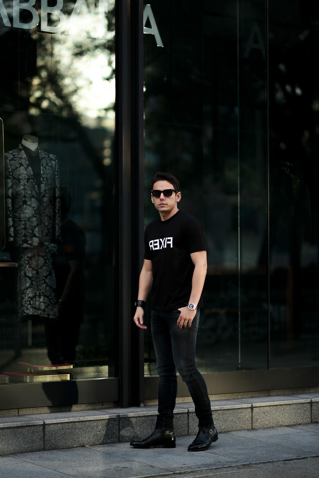 FIXER (フィクサー) FTS-03 Reverse Print Crew Neck T-shirt リバースプリント Tシャツ BLACK (ブラック) 【ご予約開始】【2021.4.17(Sat)~2021.5.03(Mon)】 愛知 名古屋 Alto e Diritto altoediritto アルトエデリット Tシャツ