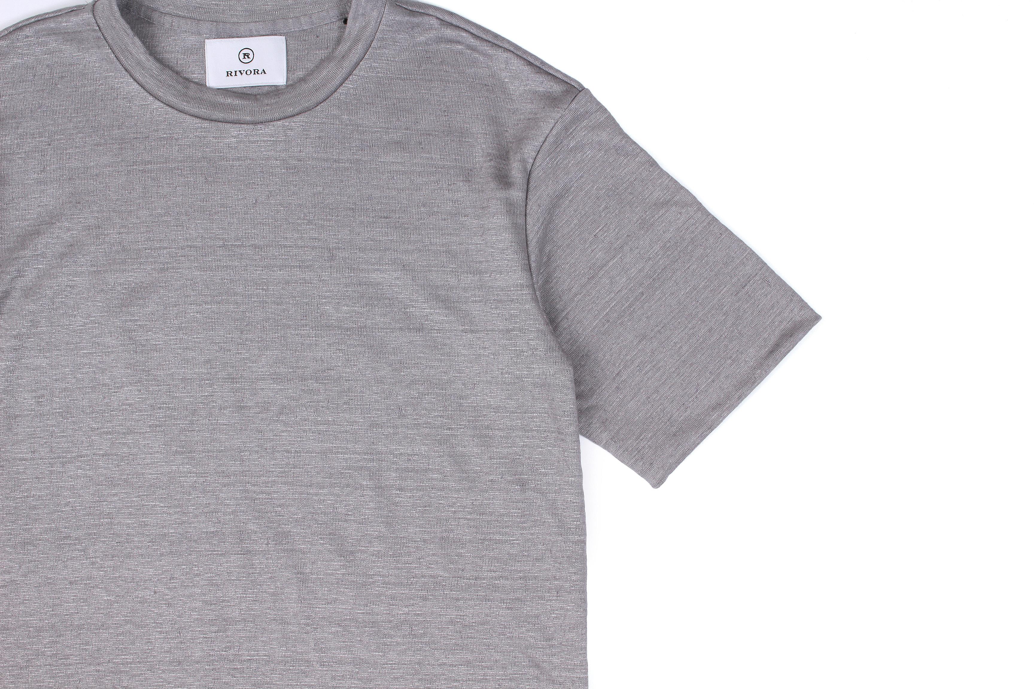 RIVORA (リヴォラ) Vintage Linen Layered T-Shirts ヴィンテージ リネン レイヤード Tシャツ GRAY (グレー・020) MADE IN JAPAN (日本製) 2021 春夏新作 【入荷しました】【フリー分発売開始】愛知 名古屋 Alto e Diritto altoediritto アルトエデリット 半袖TEE