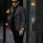 TAGLIATORE (タリアトーレ) PINO LERARIO (ピーノ レラリオ) Linen Cotton Summer Tweed Jacket リネンコットン サマーツイード チェック シングル ピークドラペル ジャケット BLACK × WHITE (ブラック×ホワイト) Made in italy (イタリア製) 2021 春夏新作のイメージ