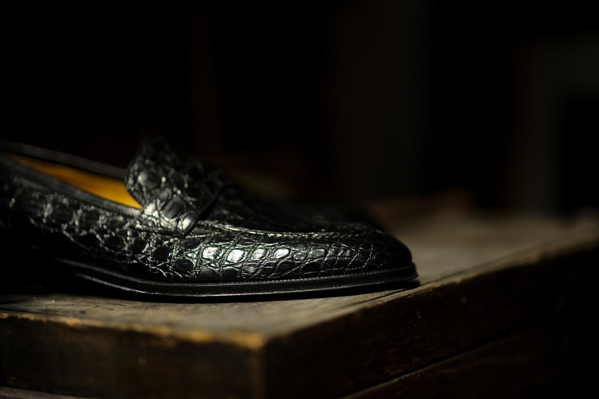 ENZO BONAFE (エンツォボナフェ) ART. EB-08 Crocodile Coin Loafer (クロコダイル コイン ローファー) Mat Crocodile Leather マット クロコダイル レザー ドレスシューズ ローファー NERO (ブラック) made in italy (イタリア製) 2020 春夏新作 愛知 名古屋 enzobonafe エンツォボナフェ eb08