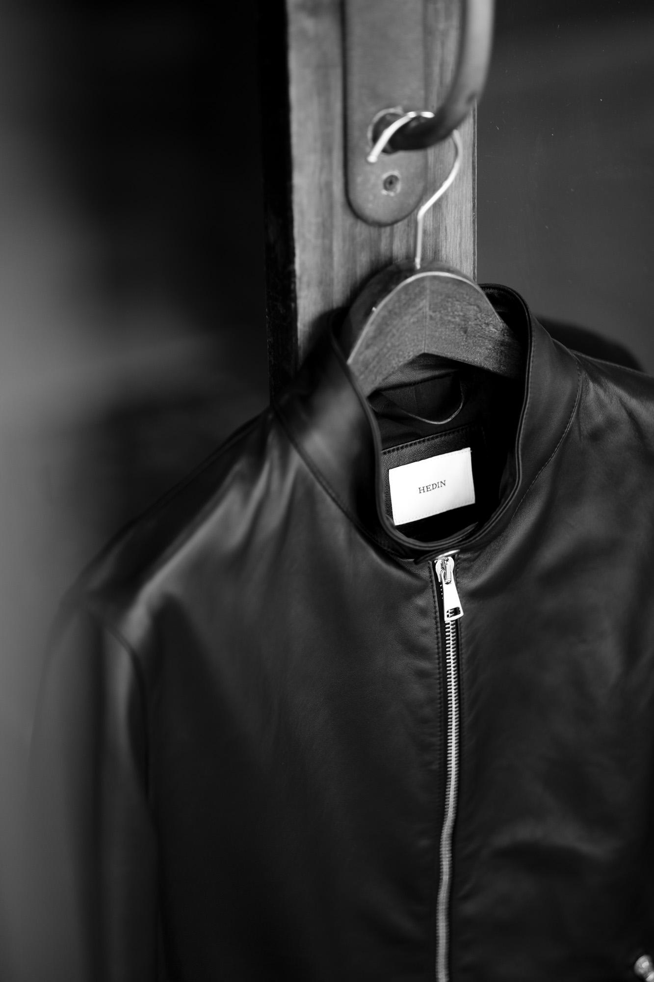 "HEDIN ""KIMON"" Single Leather Jacket Lamb Leather NERO 2021AW 着物 ジャパン 日本着物 HEDIN (エディン) KIMON Single Leather Jacket (シングル レザー ジャケット) Lamb Leather ラムレザー シングル ライダース ジャケット NERO (ブラック) Made in italy (イタリア製) 愛知 名古屋 Alto e Diritto altoediritto アルトエデリット"