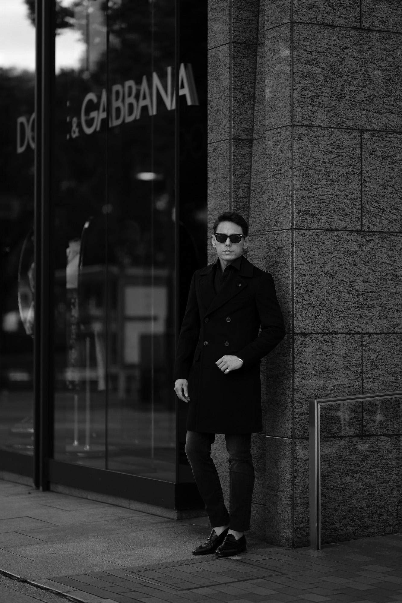 ISAIA (イザイア) MARSHAL (マーシャル) ビキューナ ダブルブレスト コート BLACK (ブラック・990) Made in italy (イタリア製)  2021 秋冬 愛知 名古屋 Alto e Diritto altoediritto アルトエデリット ビキューナコート ビキューナダブルコート