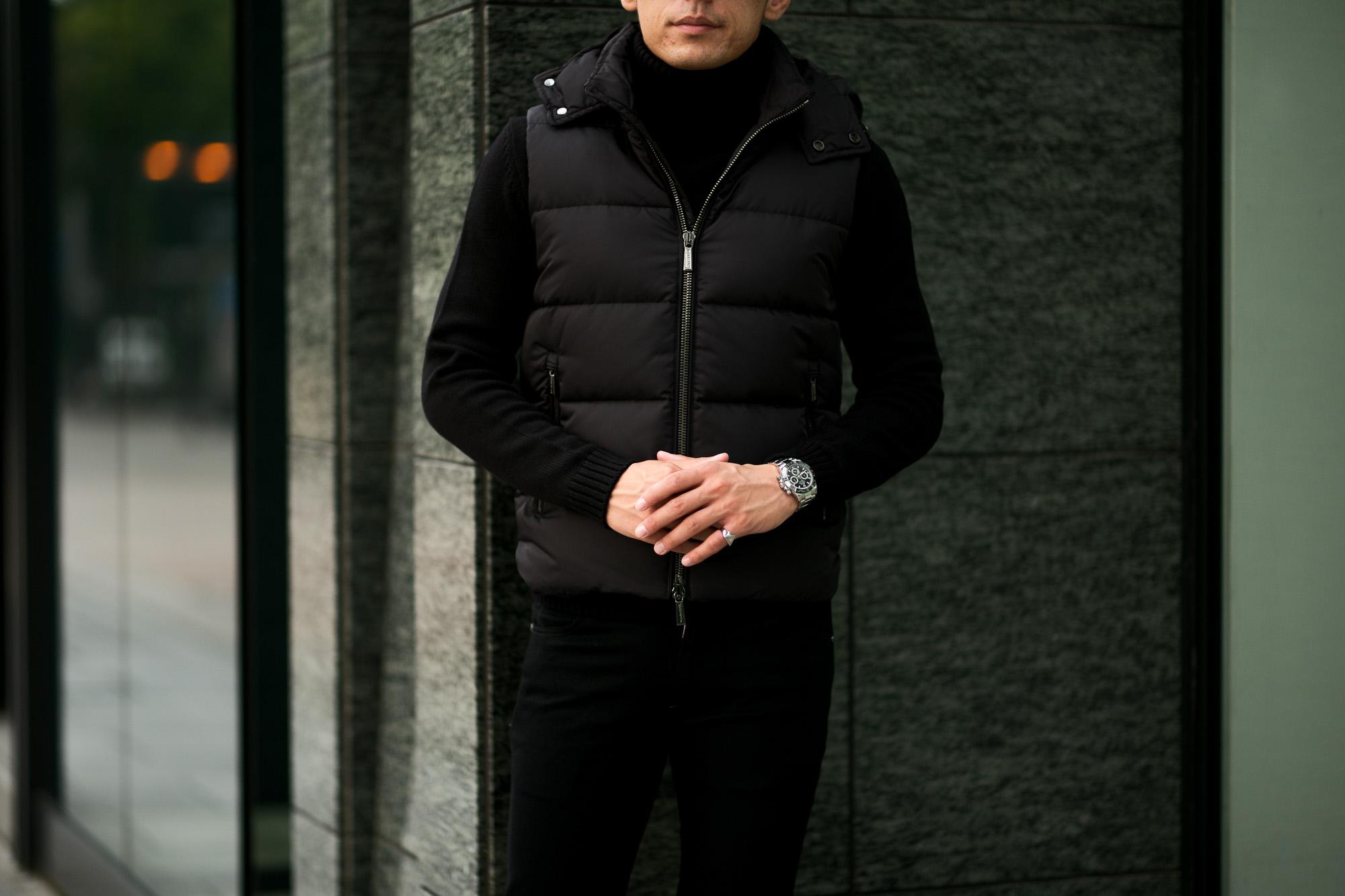 MOORER (ムーレー) FAYER (フェイヤー) Nylon Down Vest ナイロン ダウンベスト NERO(ブラック・08) Made in italy (イタリア製) 2021 秋冬 【ご予約受付中】 愛知 名古屋 Alto e Diritto altoediritto アルトエデリット