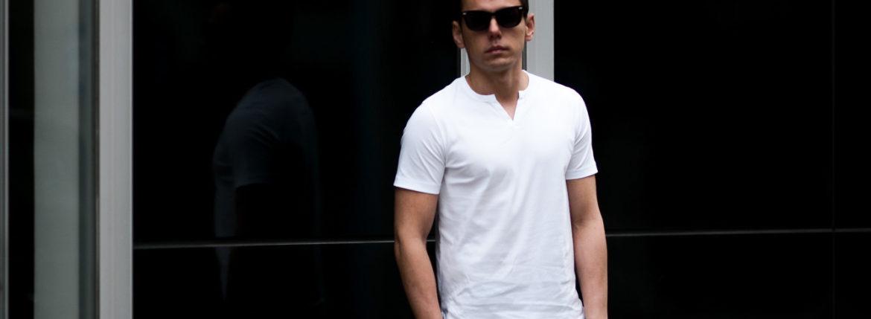 nomiamo (ノミアモ) SUPIMA 80/1 Key Neck T-shirt スーピマコットン キーネック Tシャツ WHITE (ホワイト) 2021 春夏 【Alto e Diritto別注】【Special限定モデル】のイメージ