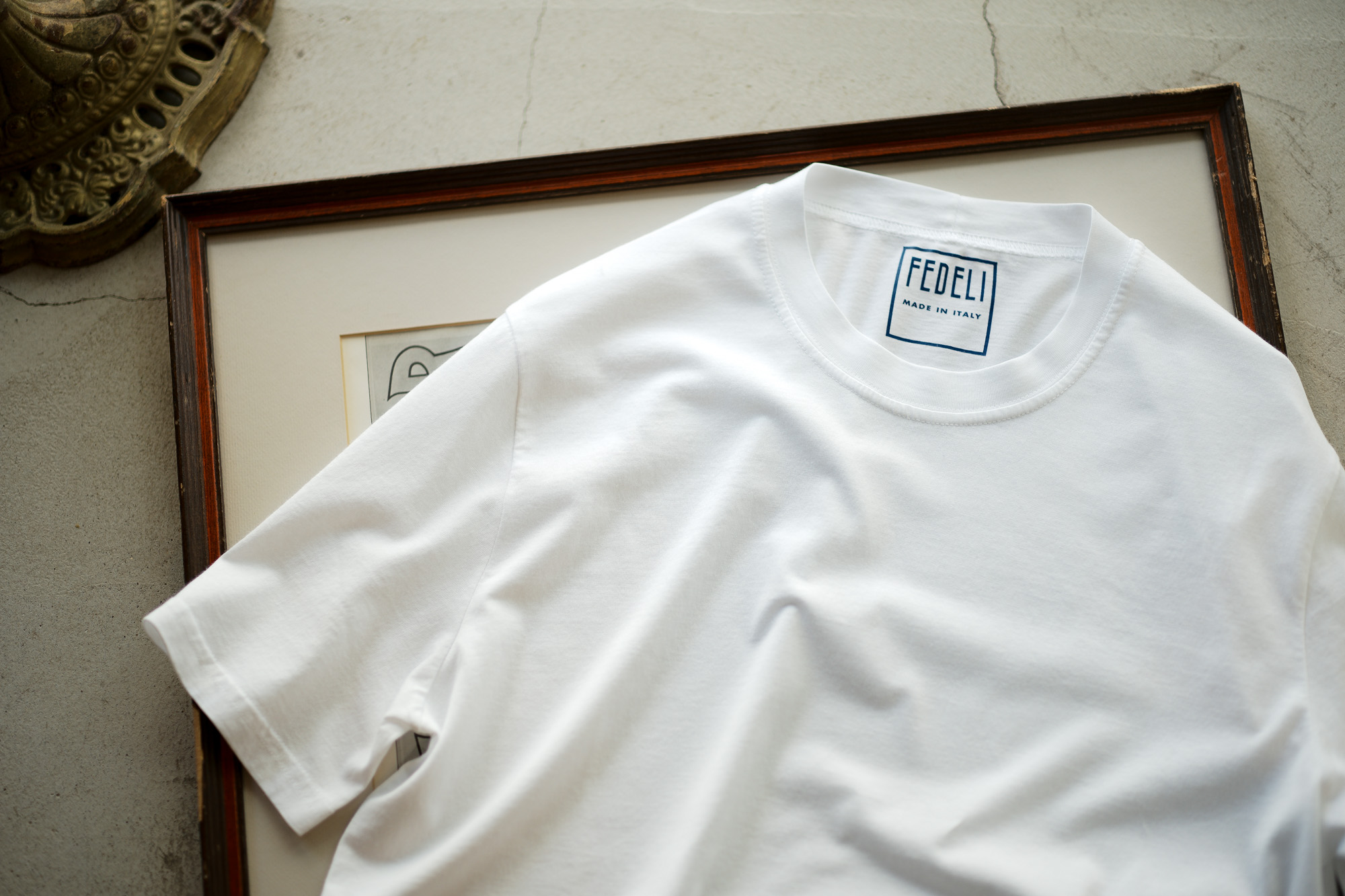 FEDELI(フェデリ) Crew Neck T-shirt (クルーネック Tシャツ) ギザコットン Tシャツ WHITE (ホワイト・41) made in italy (イタリア製) 2022 春夏 【Special Color】【ご予約開始】愛知 名古屋 Alto e Diritto altoediritto アルトエデリット 白Tシャツ