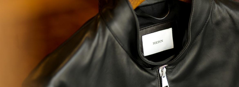 HEDIN (エディン) KIMON Single Leather Jacket (シングル レザー ジャケット) Lamb Leather ラムレザー シングル ライダース ジャケット NERO (ブラック) Made in italy (イタリア製) 2021秋冬 【Alto e Diritto 別注】 【Speical Model】のイメージ