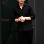 Massimo d'Augusto × cuervo bopoha (マッシモ ダウグスト × クエルボ ヴァローナ) リネンコットン ワンピースカラー シャツ BLACK (ブラック・10) made in italy (イタリア製) 2021 春夏新作のイメージ