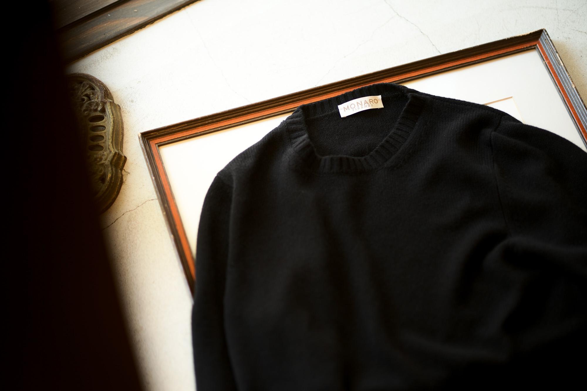 """MONARO """"Loropiana Baby Cashmere 100%"""" Crew Neck Sweater BLACK 2021AW MONARO (モナーロ) Baby Cashmere Crew Neck Sweater (ベビーカシミヤ クルーネック セーター) Loropiana (ロロピアーナ) Baby Cashmere 100% 7ゲージ ベビーカシミヤ ニット セーター BLACK (ブラック) MADE IN ITALY  愛知 名古屋 Alto e Diritto altoediritto アルトエデリット スペシャルモデル ミドルゲージ"""