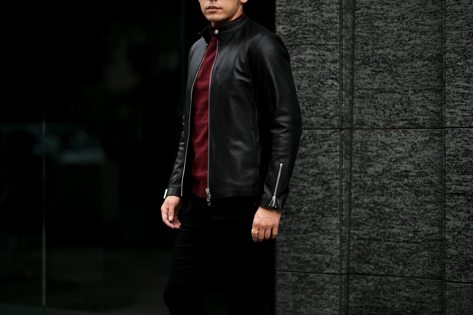 cuervo bopoha (クエルボ ヴァローナ) Satisfaction Leather Collection (サティスファクション レザー コレクション) RICHARD (リチャード) LAMB LEATHER (ラムレザー) シングル ライダース ジャケット BLACK (ブラック) MADE IN JAPAN (日本製) 2021秋冬 愛知 名古屋 Alto e Diritto altoediritto アルトエデリット