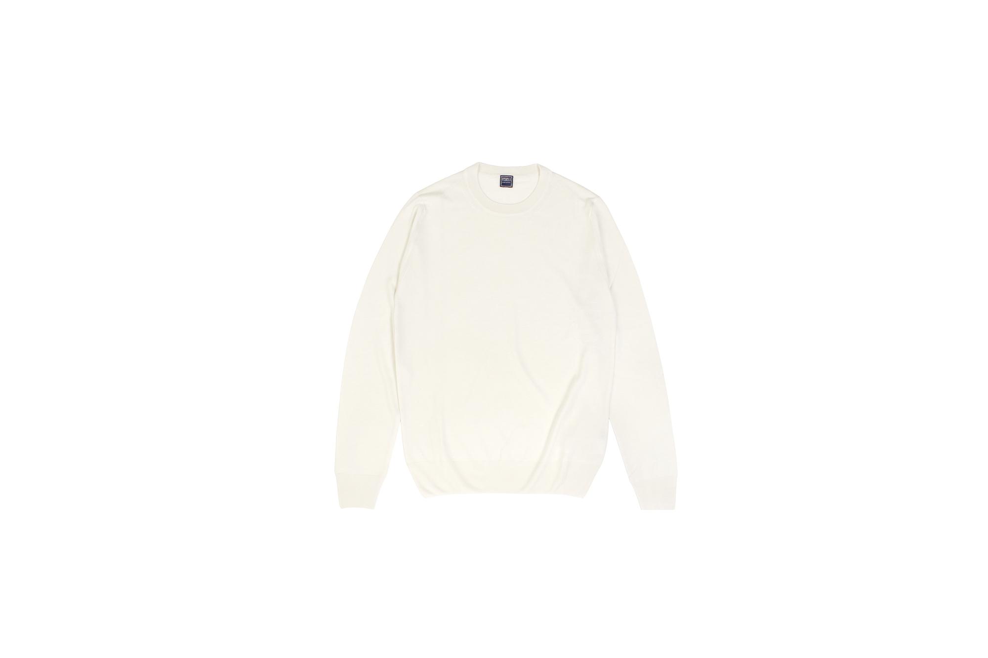 FEDELI (フェデリ) Silk Cashmere Crew Neck Sweater シルクカシミア クルーネック セーター WHITE (ホワイト・22) made in italy (イタリア製) 2021 秋冬新作 【入荷しました】【フリー分発売開始】愛知 名古屋 Alto e Diritto altoediritto アルトエデリット シルカシニット