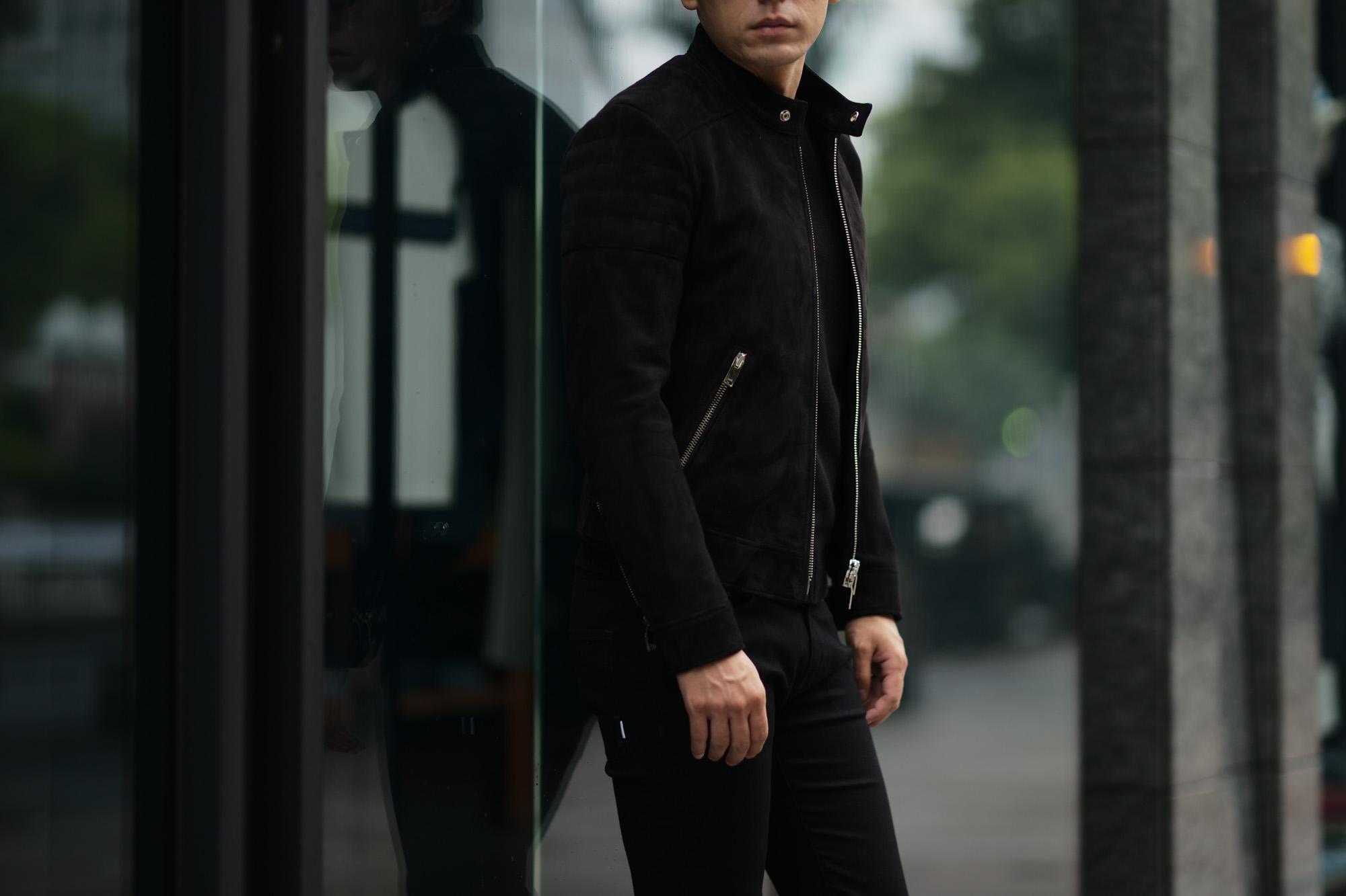 FIXER(フィクサー) F2(エフツー) SINGLE RIDERS Cashmere Suede Leather シングルライダース ジャケット BLACK(ブラック) 【ご予約開始します】【2021.7.24(Sat)~2021.8.08(Sun)】 愛知 名古屋 Alto e Diritto altoediritto アルトエデリット レザージャケット シングルライダース