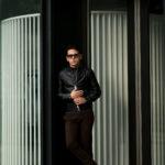 HEDIN (エディン) KIMON Single Leather Jacket (シングル レザー ジャケット) Lamb Leather ラムレザー シングル ライダース ジャケット NERO (ブラック) Made in italy (イタリア製) 2021秋冬 【Alto e Diritto 別注】 【Speical Model】【入荷しました】【フリー分発売開始】のイメージ