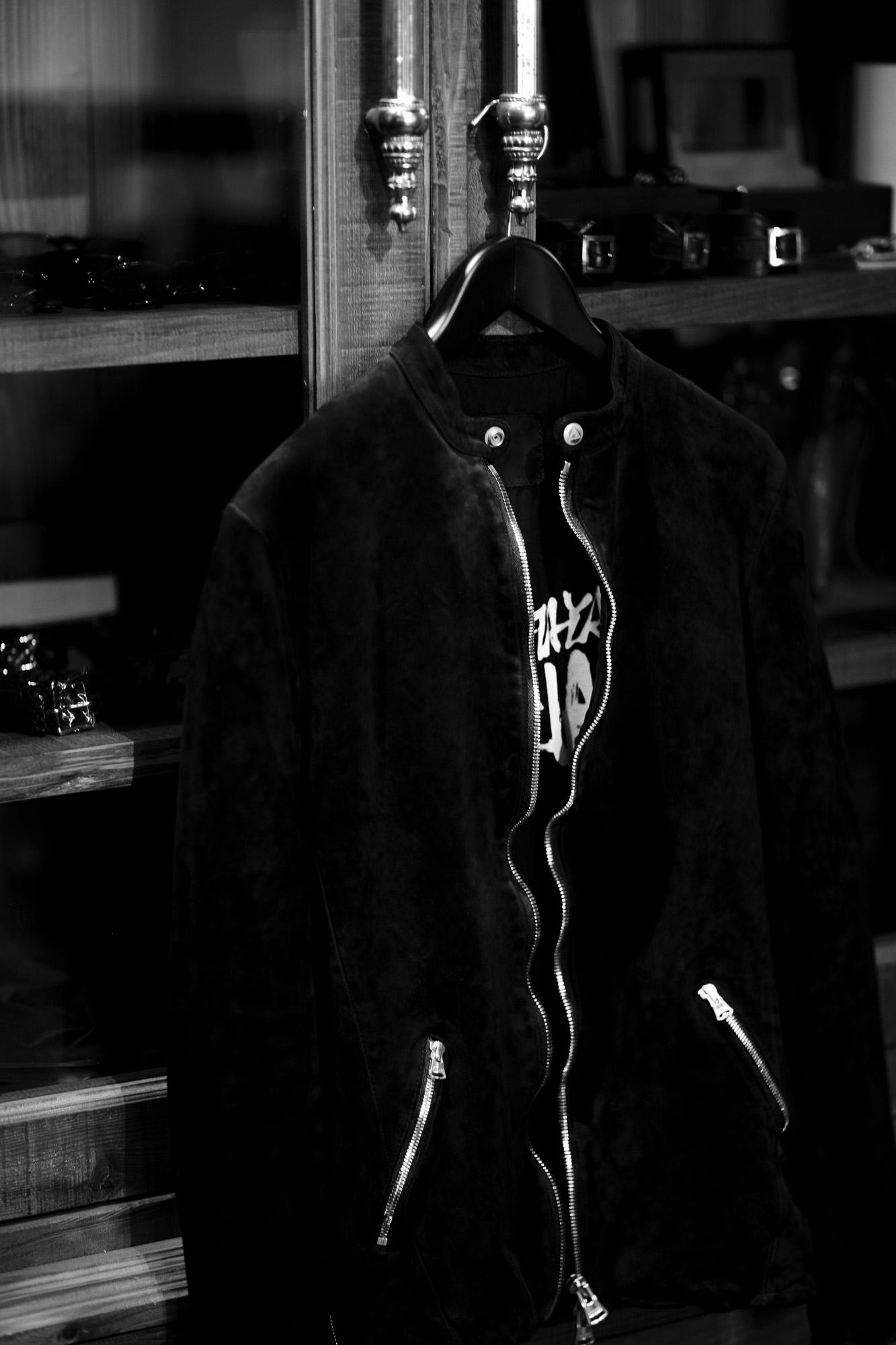"ISAMU KATAYAMA BACKLASH JAPAN CALF WET WHITE ""GARMENT-DYED"" SINGLE RIDERS BLACK 2021AW 【Alto e Diritto 別注】【Special Model】 愛知 名古屋 Alto e Diritto altoediritto アルトエデリット イサムカタヤマバックラッシュ ジャパンカーフ ガーメントダイ シングルライダース ブラック 2021秋冬 レザージャケット スエードレザー"