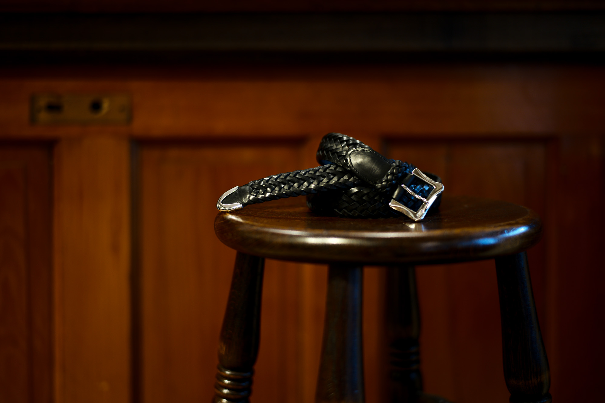 J&M DAVIDSON (ジェイアンドエムデヴィッドソン) ENVELOPE BUCKLE TIP END PLAITED BELT 30MM (エンベロープバックルチップエンドプレーテッドベルト 30mm) COWHIDE LEATHER (カウハイドレザー) プンターレ メッシュベルト BLACK (ブラック・999) Made in spain (スペイン製) 2021秋冬新作 JMDAVIDSON 愛知 名古屋 Alto e Diritto altoediritto アルトエデリット