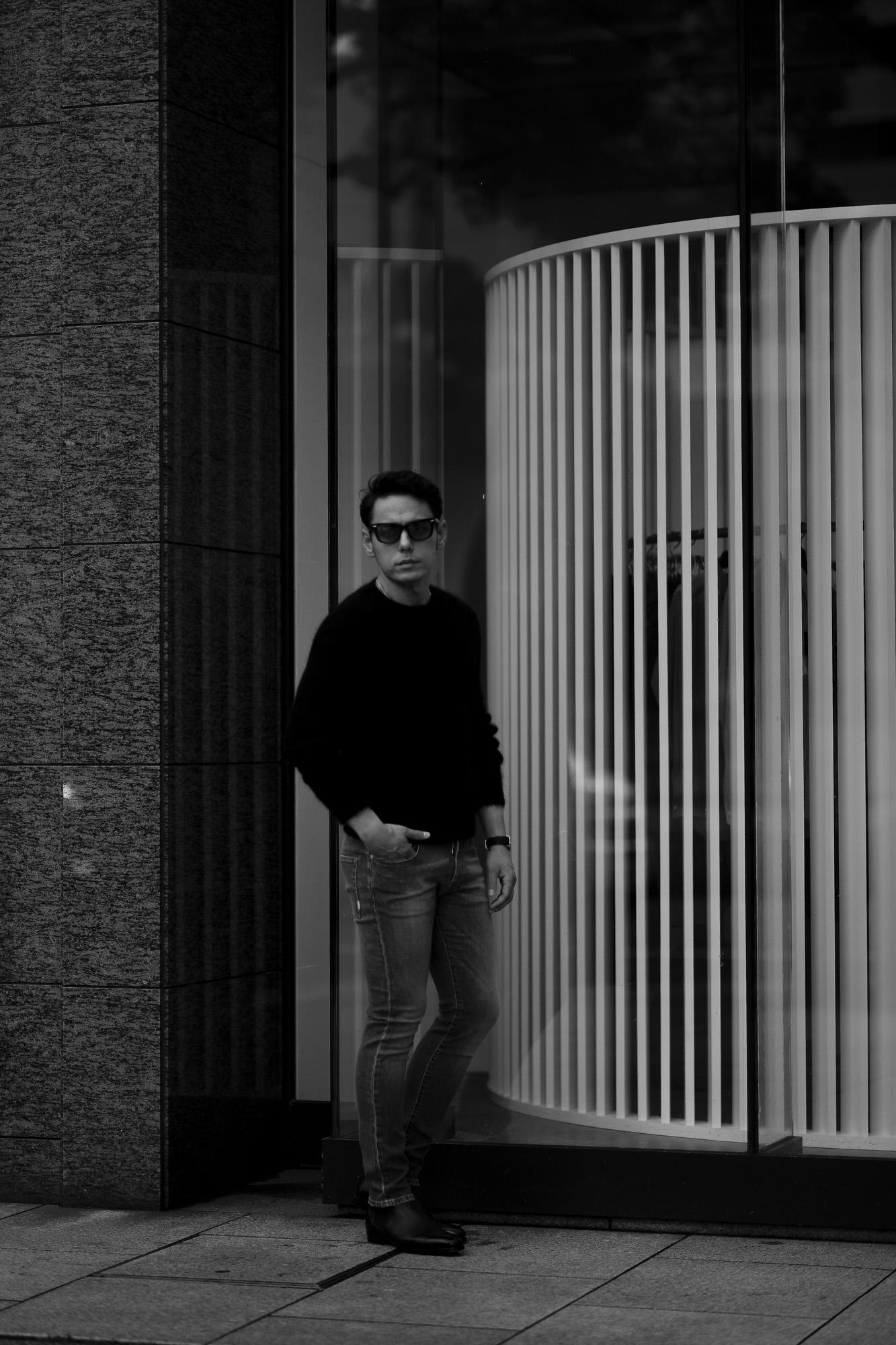 RIVORA (リヴォラ) GENTLE Knit Crew Neck (ジェントル ニット クルーネック) Cashmere Mohair Silk カシミア モヘア シルク ニット クルーネックセーター BLACK (ブラック・010) MADE IN JAPAN (日本製)  2021 秋冬 愛知 名古屋 Alto e Diritto altoediritto アルトエデリット