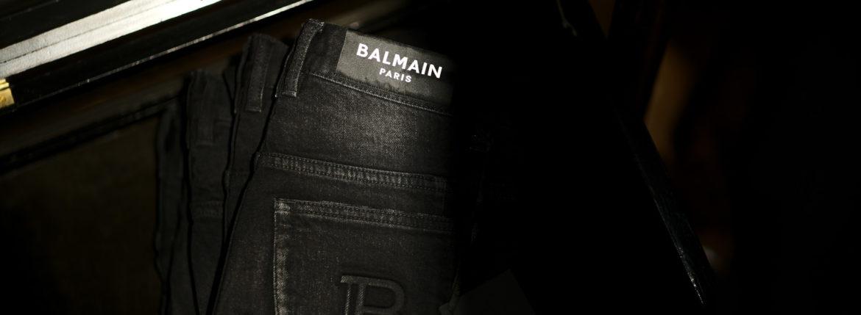 BALMAIN(バルマン)SKINNY COTTON SLIM CUT JEANS (スキニー コットン スリムカット ジーンズ) ストレッチ スキニー デニムパンツ NOIR (ブラック) MADE IN JAPAN (日本製) 2021 秋冬のイメージ