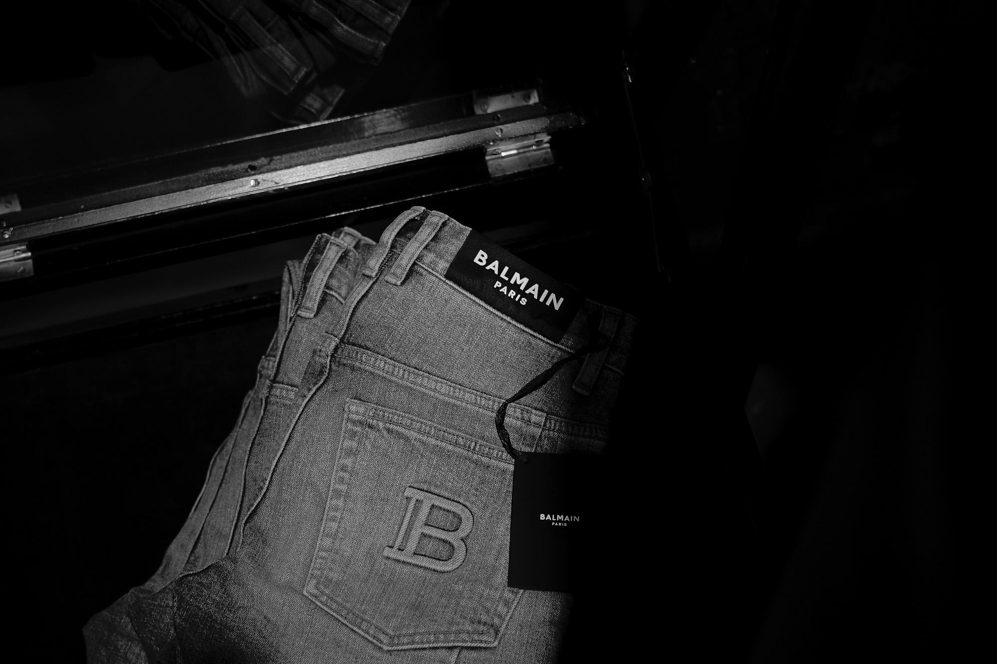 BALMAIN バルマン WH1MF000 146D フェードブラック  コットン スリムカット ジーンズ エンボスロゴ 108,900円 WH1MF000 145D  ブルーコットン エンボスロゴ ブルーデニム 愛知 名古屋 Alto e Diritto altoediritto アルトエデリット ブラックデニム ブラックジーンズ グレーデニム バルマンブラック