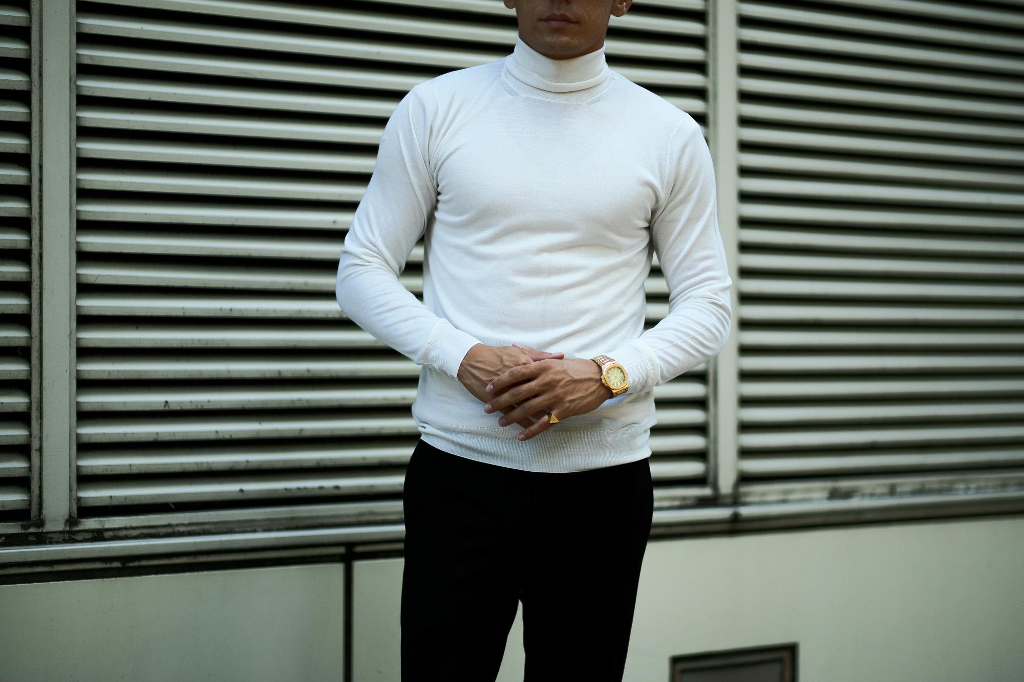 FEDELI (フェデリ) Silk Cashmere Turtle Neck Sweater シルクカシミア タートルネック セーター WHITE (ホワイト・22) made in italy (イタリア製) 2021 秋冬新作 愛知 名古屋 Alto e Diritto altoediritto アルトエデリット シルカシニット