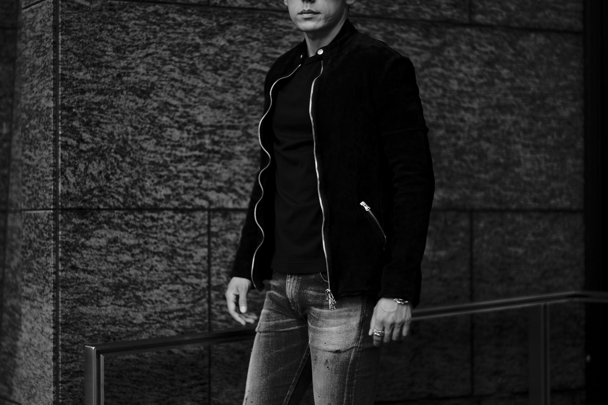 "ISAMU KATAYAMA BACKLASH (イサムカタヤマ バックラッシュ) JAPAN CALF NATURAL DYED ""GARMENT-WASH"" SINGLE RIDERS No.1842-2 (ジャパン カーフ シングルライダース) レザー シングル ライダース ジャケット BLACK (ブラック) MADE IN JAPAN (日本製) 2021秋冬 【Alto e Diritto 別注】【Special Model】愛知 名古屋 Alto e Diritto altoediritto アルトエデリット 片山勇"