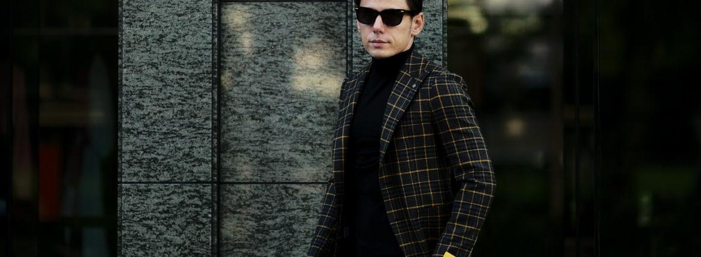 TAGLIATORE (タリアトーレ) PINO LERARIO (ピーノ レラリオ) Wool Cotton Tweed Jacket ウールコットン ツイード チェック シングル ピークドラペル ジャケット NAVY × YELLOW (ネイビー×イエロー) Made in italy (イタリア製) 2021 秋冬 【ご予約受付中】愛知 名古屋 Alto e Diritto altoediritto アルトエデリット