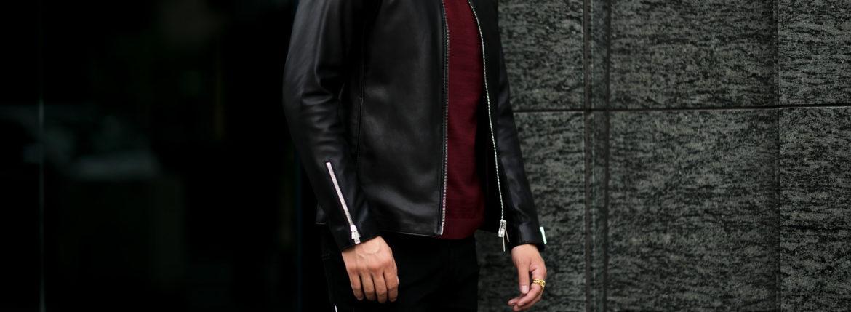 cuervo bopoha (クエルボ ヴァローナ) Satisfaction Leather Collection (サティスファクション レザー コレクション) RICHARD (リチャード) LAMB LEATHER (ラムレザー) シングル ライダース ジャケット BLACK (ブラック) MADE IN JAPAN (日本製) 2021秋冬 【ご予約受付中】のイメージ