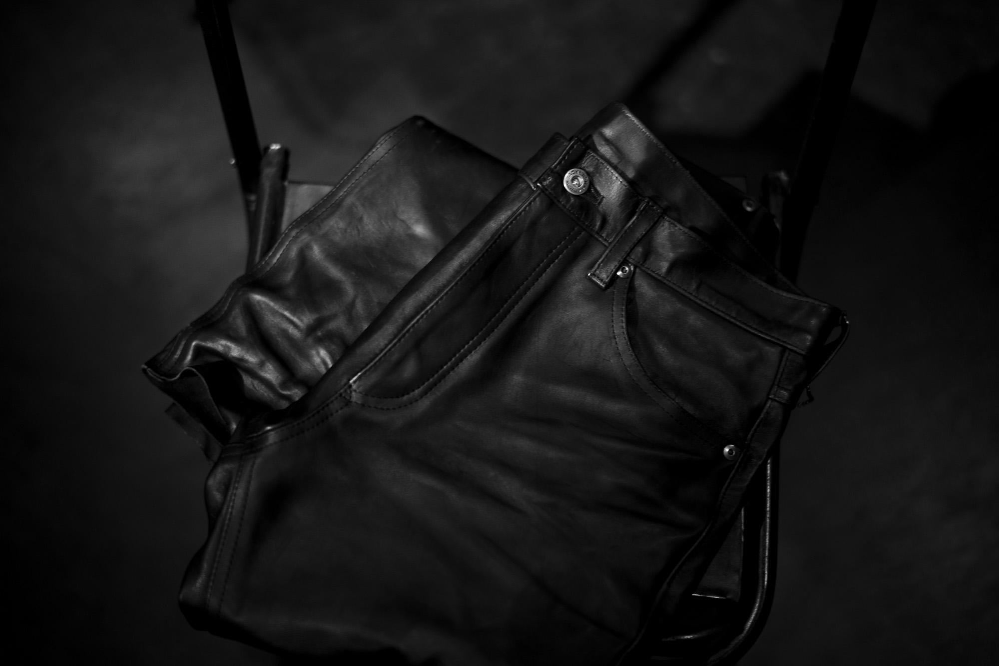 ISAMU KATAYAMA BACKLASH 1973-01 ITALY HORSE LEATHER PANTS BLACK 2022SS イサムカタヤマ バックラッシュ イタリーホースレザー S,M,L 木村拓哉 キムタク レザーパンツ 愛知 名古屋 Alto e Diritto altoediritto アルトエデリット 片山勇 209,000円