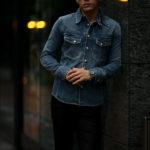 ISAMU KATAYAMA BACKLASH The Line (イサムカタヤマ バックラッシュ ザ・ライン) 13oz Selvage Denim × Python Leather Shirts T-228 (13オンス セルビッチデニム × パイソンレザー シャツ) 925 STERLING SILVER (925 スターリングシルバー) セルビッチデニムシャツ INDIGO (インディゴ) MADE IN JAPAN (日本製)  2021【Alto e Diritto別注】【Special Model】のイメージ