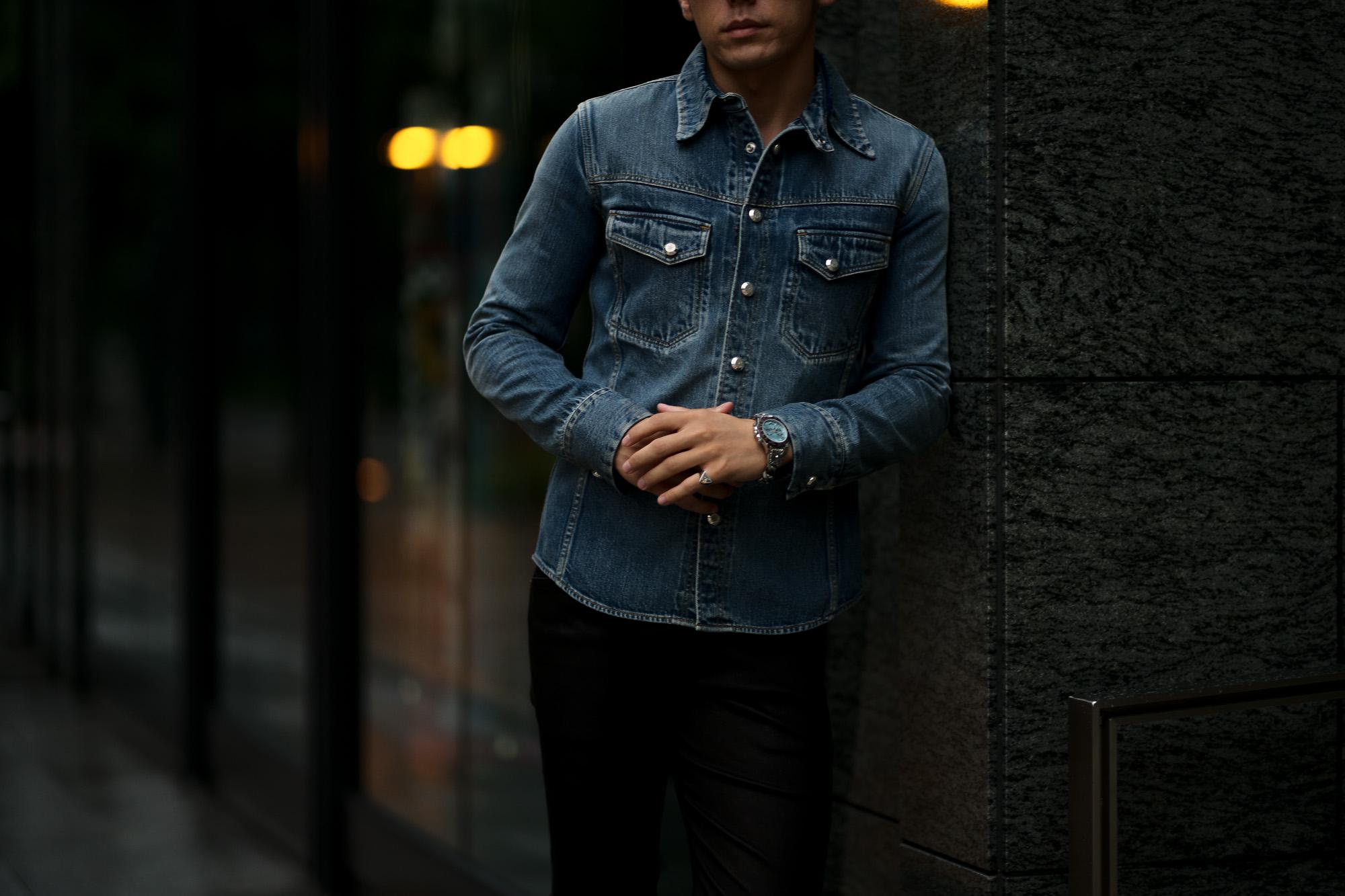 ISAMU KATAYAMA BACKLASH The Line (イサムカタヤマ バックラッシュ ザ・ライン) 13oz Selvage Denim × Python Leather Shirts T-228 (13オンス セルビッチデニム × パイソンレザー シャツ) 925 STERLING SILVER (925 スターリングシルバー) セルビッチデニムシャツ INDIGO (インディゴ) MADE IN JAPAN (日本製) 【Alto e Diritto別注】【Special Model】愛知 名古屋 altoediritto アルトエデリット 片山勇 isamukatayama 片さん