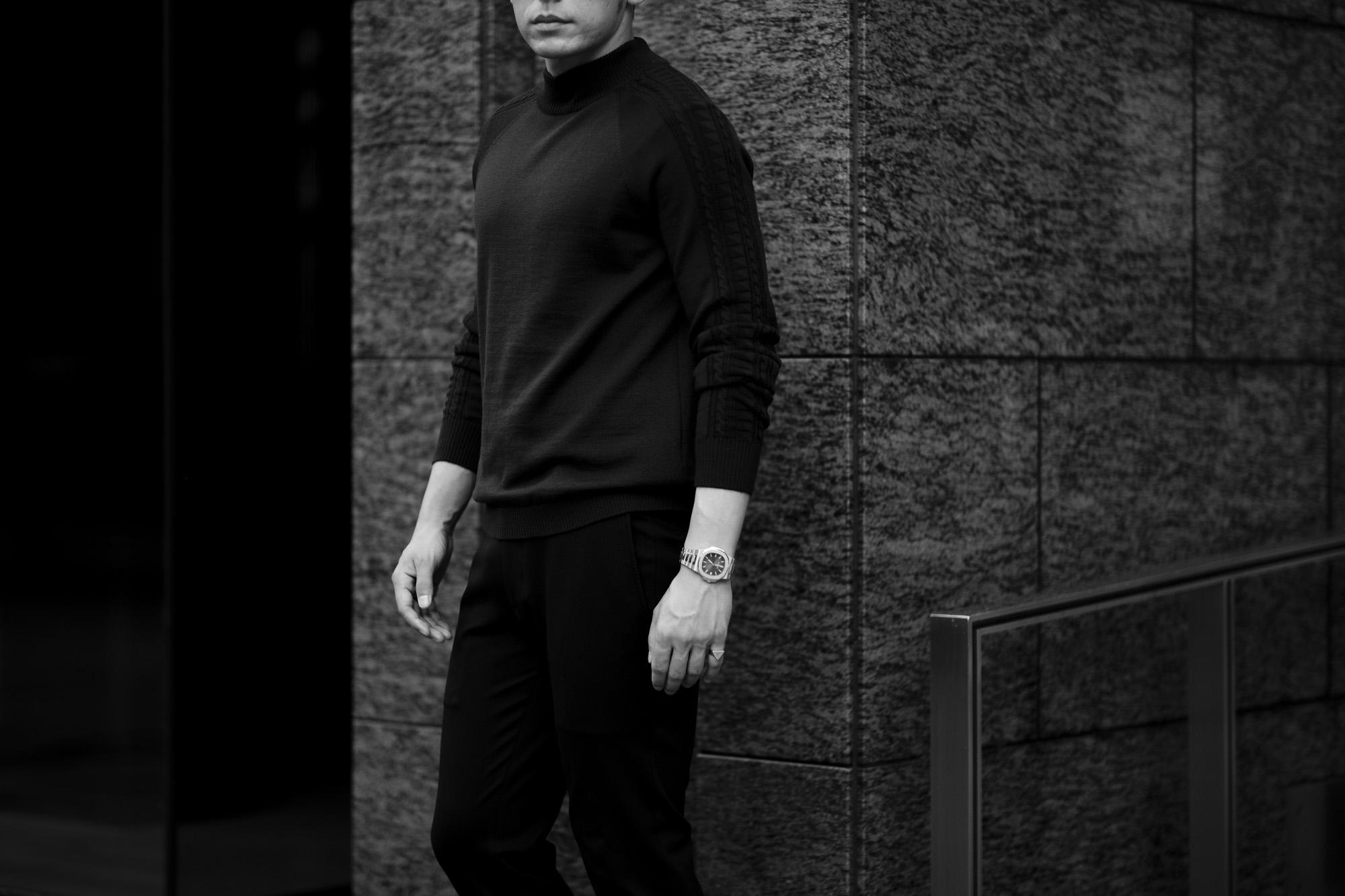 RIVORA (リヴォラ) SIDE CABLE Mock Neck Pull-Over (サイドケーブル モックネック プルオーバー) SUPER120s Wool サイドケーブル ウール モックネック セーター BLACK (ブラック・010) MADE IN JAPAN (日本製) 2021 秋冬 【Alto e Diritto 別注】【Special Model】Alto e Diritto altoediritto アルトエデリット