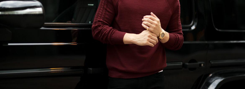 RIVORA (リヴォラ) SIDE CABLE Mock Neck Pull-Over (サイドケーブル モックネック プルオーバー) SUPER120s Wool サイドケーブル ウール モックネック セーター BORDEAUX (ボルドー・150) MADE IN JAPAN (日本製) 2021 秋冬新作 【入荷しました】【フリー分発売開始】のイメージ