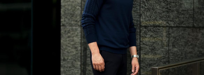 RIVORA (リヴォラ) SIDE CABLE Mock Neck Pull-Over (サイドケーブル モックネック プルオーバー) SUPER120s Wool サイドケーブル ウール モックネック セーター NAVY (ネイビー・040) MADE IN JAPAN (日本製) 2021 秋冬新作 【入荷しました】【フリー分発売開始】のイメージ