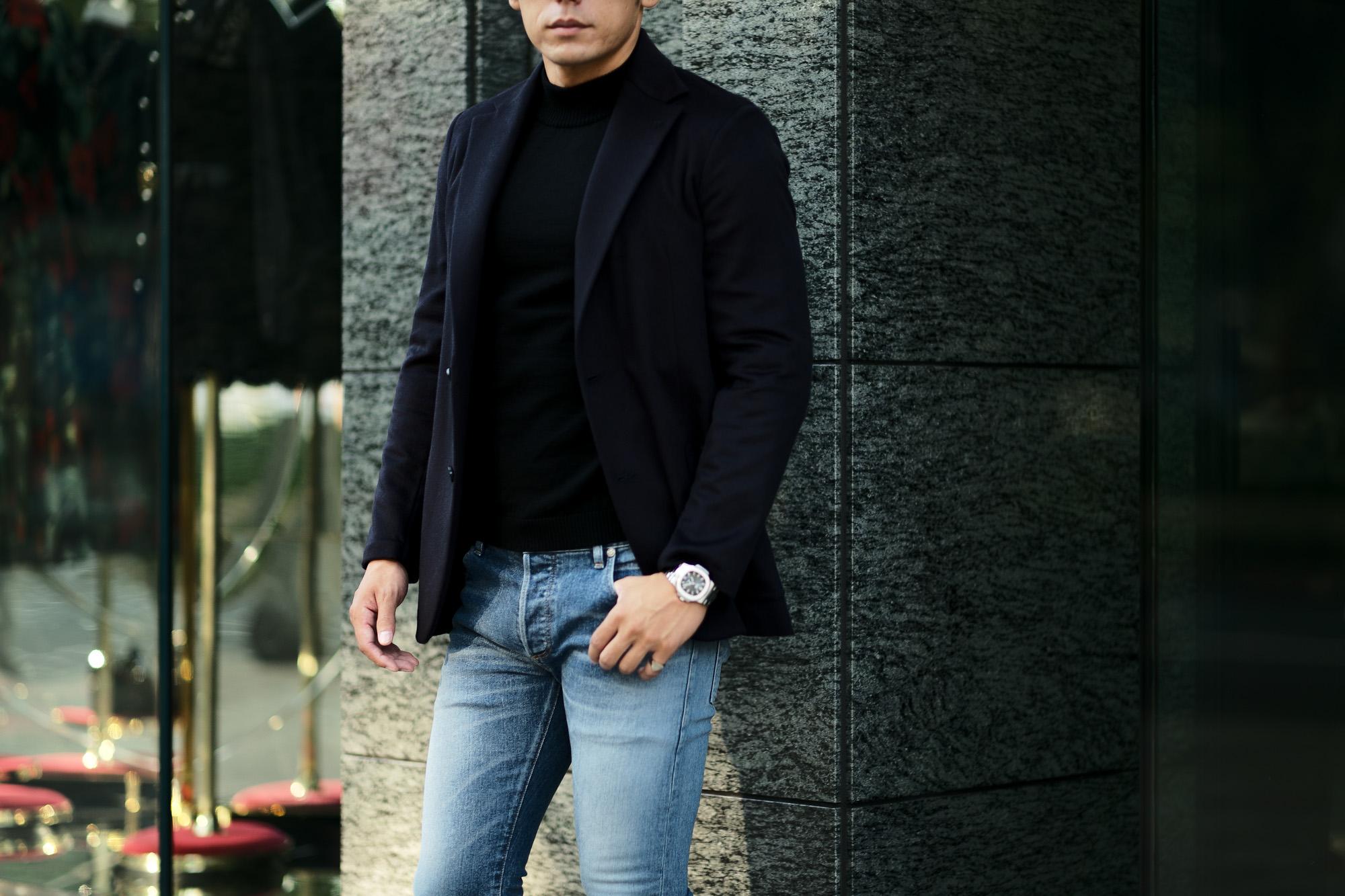 Finjack (フィンジャック) Cashmere 2B Jacket ヌーヴォラライン カシミヤ ジャケット NAVY (ネイビー) Made in italy (イタリア製) 2021 秋冬新作 愛知 名古屋 Alto e Diritto altoediritto アルトエデリット カシミアジャケット カシミヤジャケット